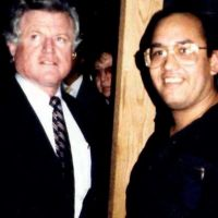 Dave at Harvard University visiting with Senator Ted Kennedy